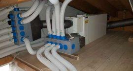 Impianto aria canalizzata per impianto aerotermico in villa monofamiliare.