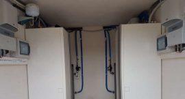 Pompe di calore per impianto aerotermico in villa bifamiliare.