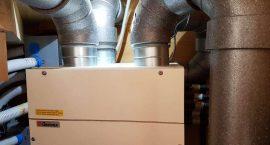 Pompa di calore per impianto aerotermico ad aria canalizzata per villa monofamiliare.