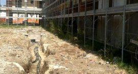 Scavi per impianto geotermico in palazzina di 24 appartamenti.
